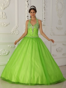 Spring Green A-line Halter Tulle Beading Sweet 15 Dress