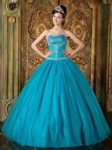 Teal Sweetheart Embroidery Beading Tulle Quinceanera Dress