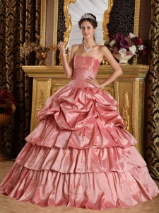 Pick Ups Ball Gown Strapless Beading Dress for Quinceanera