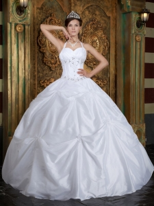 White Halter Taffeta Beading Quinceanera Dress with Pick Ups