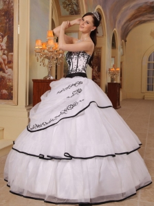 White and Black Ball Gown Organza Embroidery Quinceanera Gown