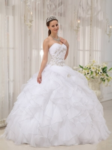 Organza Appliques Ruffles White Quinceanera Dress Sweetheart