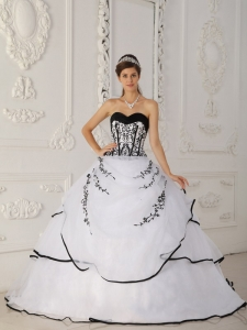 Sweetheart Satin and Organza Quinceanera Dress with Boning Details