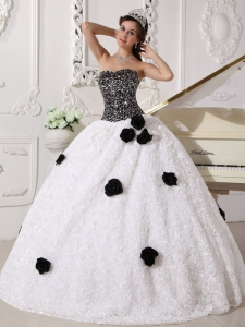 White and Black Sequins and Hand Made Flowers Quinceanera Gown