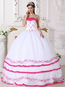 White and Hot Pink Organza Beading and Embroidery Quinceanera Gown