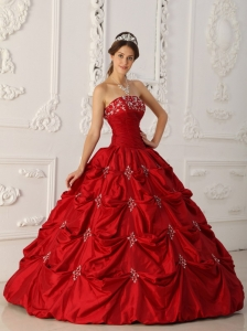 Taffeta Wine Red Quinceanera Dress Appliques Beading
