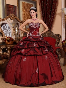 Wine Red Appliques Ball Gown Sweetheart Quinceanera Dress