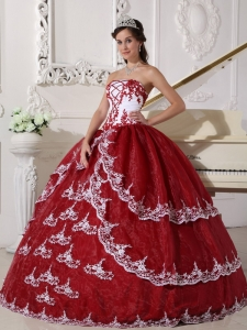Wine Red and White Organza Appliques Dress for Quinceanera