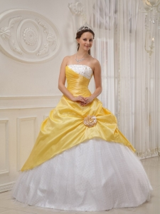 Yellow and White Taffeta and Tulle Beading Quinceanera Dress