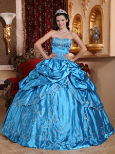 Strapless Taffeta Embroidery with Beading Sweet 15 Dress