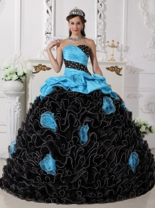 Blue and Black Quinceanera Dress with Beading and Rolling Flowers