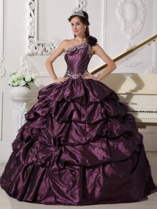 One Shoulder Dark Purple Appliques and Pick-ups Quinceanera Gown