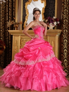 Hot Pink Ball Gown Strapless Organza Dress for Quinceanera