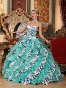 Multi-color Printing Sweetheart Floor-length Organza Quinceanera Gown