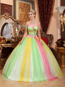 Lovely Colorful Sweetheart Tulle Beading Quinceanera Gown