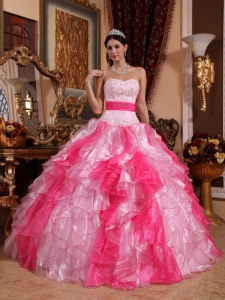 Sweetheart Beading and Ruch Two Pink ShadesSweet 15 Dress