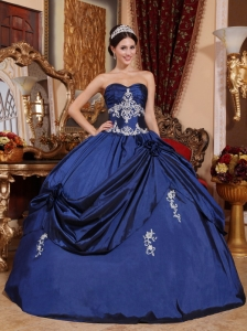 Royal Blue Sweetheart Satin Appliques Quinceanera Dress Pick Ups