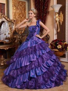 Luxurious Purple One Shoulder Hand Made Flowers Sweet 16 Dress