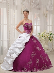 Purple and White Sweetheart Embroidery Quinceanera Dress