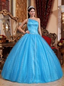 Blue One Shoulder Tulle and Taffeta Beading Quinceanera Gown