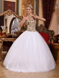 Unique Gold and White Squins Quinceanera Dress with Boning Details