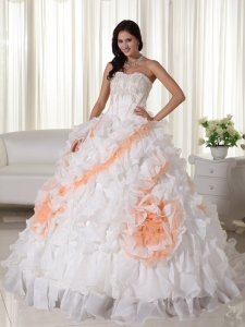 Court Train Appliques Quinceanera Dress White Sweetheart