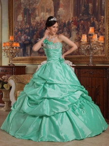One Shoulder Hand Flowers Apple Green Quinceanera Dress