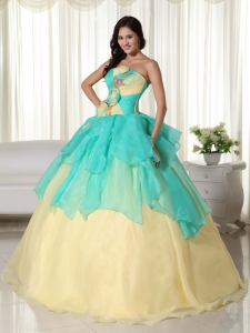Ball Gown Beading Apple Green and Yellow Quinceanera Dress