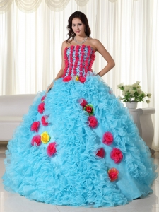 Handle Flowers Beaded Multi-color Ball Gown for Quinceanera