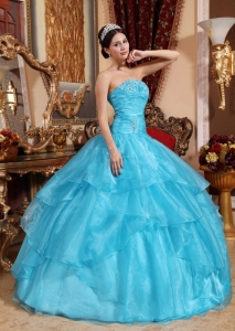 Organza Beading Quinceanera Dress Aqua Blue Ball Gown