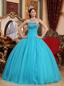 Embroidery Beading Quinceanera Dress Aqua Blue Tulle