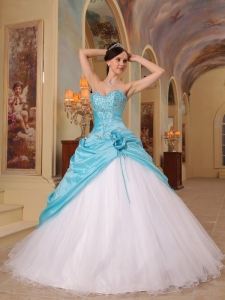ASweetheart qua Blue and White Quinceanera Dress Beaded