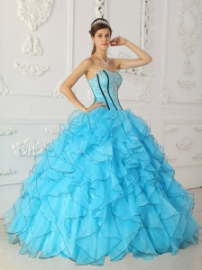 Strapless Appliques Baby Blue Quinceanera Ball Gown