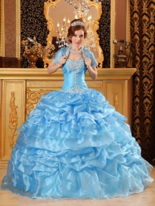 Sweetheart Organza Appliques Baby Blue Quinceanera Dress