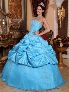 Strapless Aqua Blue Embroidery Beaded Quinceanera Dress