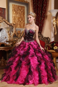 Beaded Ruffles Black and Red Organza Quinceanera Dress