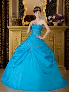 Quinceanera Dress 2013 Aqua Blue Appliques Taffeta