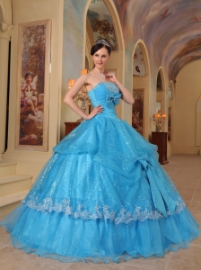 Baby Blue Sequins Quinceanera Dress Strapless Bows Beading
