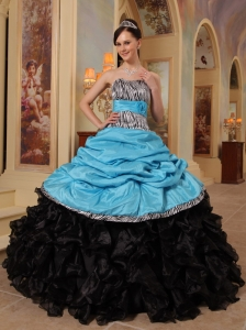 Ruffles Sweetheart Quinceanera Dress Blue and Black