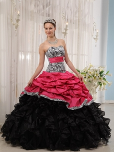 Hot Pink and Black Sweetheart Quinceanera Dress with Zebra Print