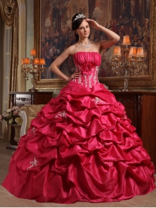 Pick-ups Appliques Strapless Coral Red Quinceanera Dress