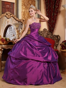Eggplant Purple Taffeta Quinceanera Dress Beading Appliques