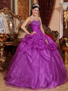 Beaded Eggplant Purple Quinceanera Dress Sweetheart Organza