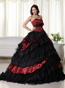 Ball Gown Zebra Quinceanera Dress Multi-color Ruffles