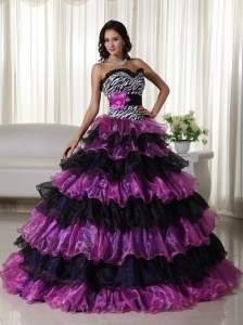 Zebra Sweetheart Beading Quinceanera Dress Multi-color