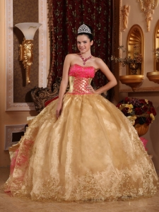 Embroidery Quinceanera Dress Gold Ball Gown Strapless