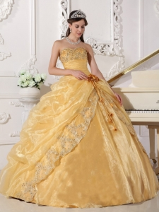 mbroidery Beading Gold EQuinceanera Dress Ball Gown