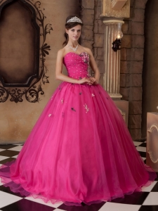A-line Sweetheart Hot Pink Quinceanera Dress Beaded