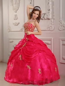Quinceanera Dress Hot Pink Strapless Organza Appliques