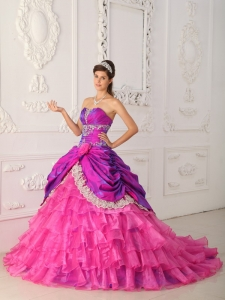 Ruffled Lace Appliques Quinceanera Dress Multi-colored
